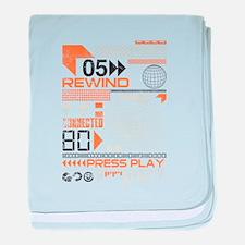 Rewind press play design baby blanket