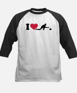 I love Curling player Kids Baseball Jersey
