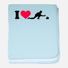 I love Curling player baby blanket