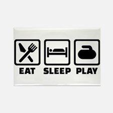 Eat Sleep Play Curling Rectangle Magnet