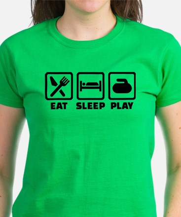 Eat Sleep Play Curling Women's Dark T-Shirt