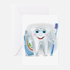 Cartoon cute tooth with toothpaste Greeting Cards