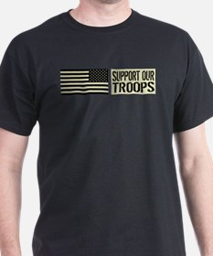 U.S. Military: Support Our Troops (Black Flag) T-S