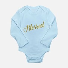 Blessed Gold Faux Foil Metallic Glitter Body Suit