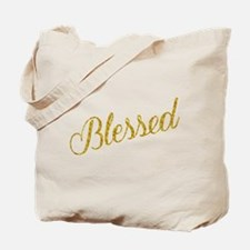 Blessed Gold Faux Foil Metallic Glitter Q Tote Bag