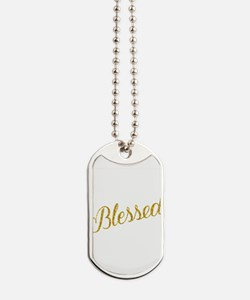 Blessed Gold Faux Foil Metallic Glitter Q Dog Tags
