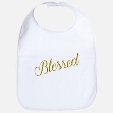 Blessed Gold Faux Foil Metallic Glitter Quote Bib
