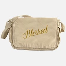 Blessed Gold Faux Foil Metallic Glit Messenger Bag