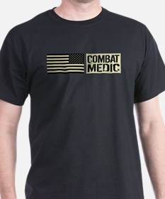 U.S. Military: Combat Medic (Black Fl T-Shirt