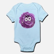 Smiley cabbage Vegetable purple cartoon Body Suit
