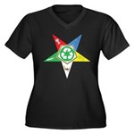 OES Recycling Women's Plus Size V-Neck Dark T-Shir