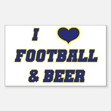 I Love Football & Beer Rectangle Decal