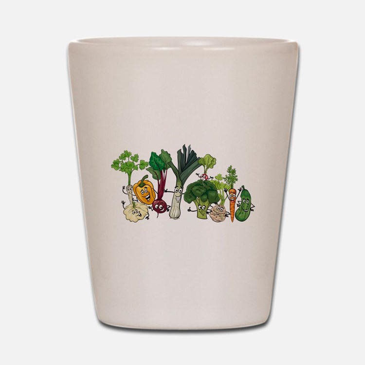 Funny cartoon vegetables Shot Glass