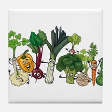 Funny cartoon vegetables Tile Coaster