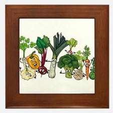 Funny cartoon vegetables Framed Tile