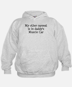 Carseat in Daddy's Muscle Car Hoodie