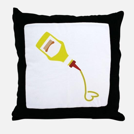 Mustard Bottle Throw Pillow