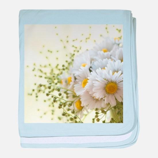 Bouquet of daisies in LOVE baby blanket