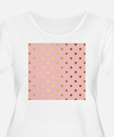 Golden dots on pink backround Plus Size T-Shirt