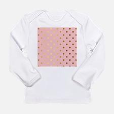 Golden dots on pink backround Long Sleeve T-Shirt