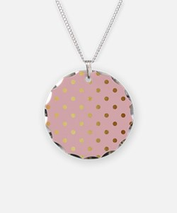 Golden dots on pink backroun Necklace