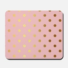 Golden dots on pink backround Mousepad
