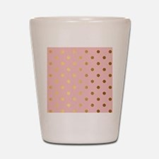 Golden dots on pink backround Shot Glass