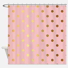 Golden dots on pink backround Shower Curtain