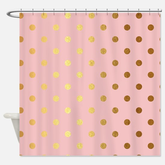 pink and gold shower curtain. Golden dots on pink backround Shower Curtain Gold Dot Curtains  CafePress