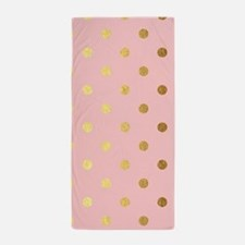 Golden dots on pink backround Beach Towel