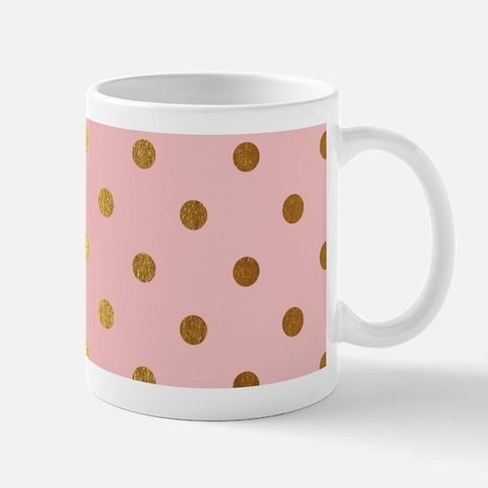 Golden dots on pink backround Mugs