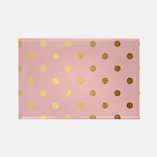 Golden dots on pink backround Magnets