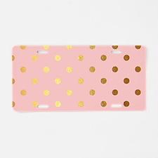Golden dots on pink backrou Aluminum License Plate