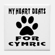 My Heart Beats For Cymric Cat Tile Coaster