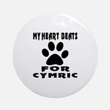 My Heart Beats For Cymric Cat Round Ornament