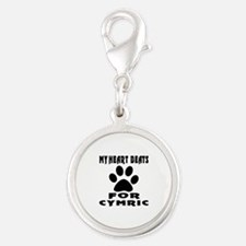 My Heart Beats For Cymric Cat Silver Round Charm
