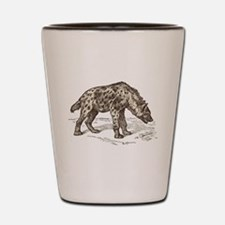 Vintage hyena art Shot Glass