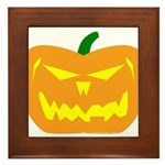 Scary Pumpkin Halloween Framed Tile