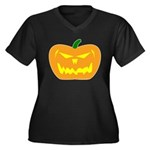 Scary Pumpkin Halloween Women's Plus Size V-Neck D