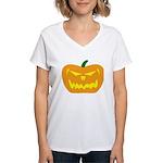 Scary Pumpkin Halloween Women's V-Neck T-Shirt