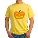Scary Pumpkin Halloween Yellow T-Shirt