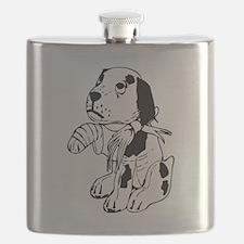 Sad dog with a broken leg Flask