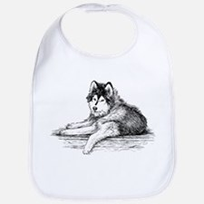 Hand drawn huskies dog Bib