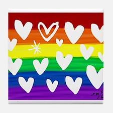 Hearts rainbow art Tile Coaster