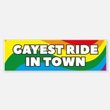 Gayest Ride In Town Bumper Car Car Sticker