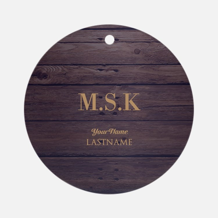 Rustic Barn Wood Personalized Round Ornament