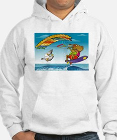 Dog and duck ridding on sea Hoodie