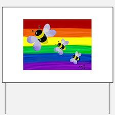 Bumble bee rainbow gay art Yard Sign