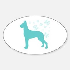 Great Dane Snowflake Oval Decal
