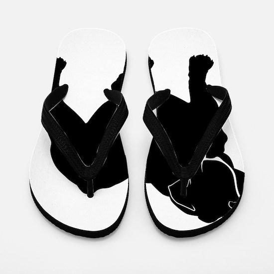 Bulldog silhouette Flip Flops